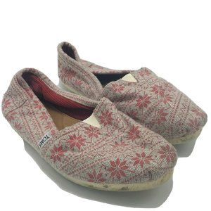 Toms Grey & Red Canvas Flats Slip On Shoes Size 9.